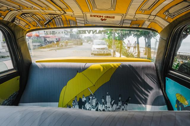 Interiors of a taxi revamped earlier by Taxi Project