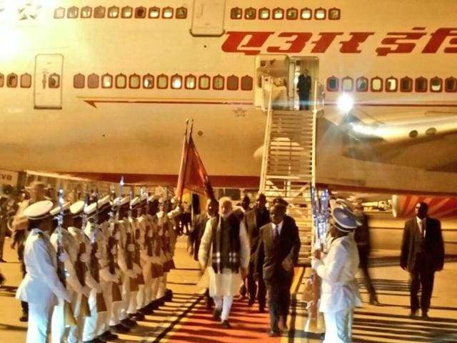 Prime Minister Narendra Modi arrives at Maputo airport in Mozambique as part of his five-day Africa visit
