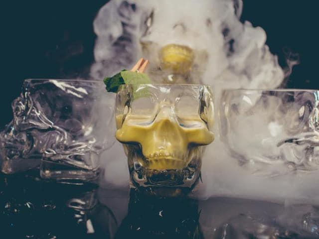 Bollywood bhang - vodka with vodka basil dragon smoke at MasalaBar