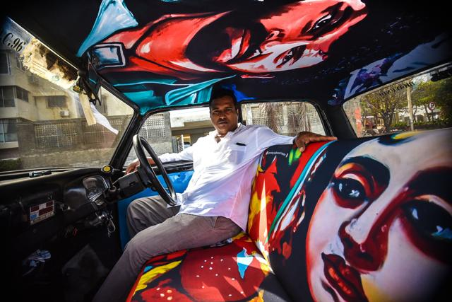 The images are hand-painted by a poster artist and then digitised and printed on seat covers,  on the roof and the sides of taxis