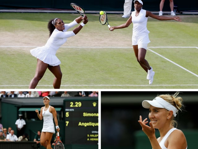 Serena Williams (left) and her sister Venus watch the ball during their women's doubles match against Andreja Klepac and Katarina Srebotnik of Slovenia on day four of the Wimbledon Tennis Championships in London.