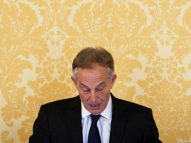 In this May 29, 2003 file photo, British Prime Minister Tony Blair addresses troops in Basra, Iraq.