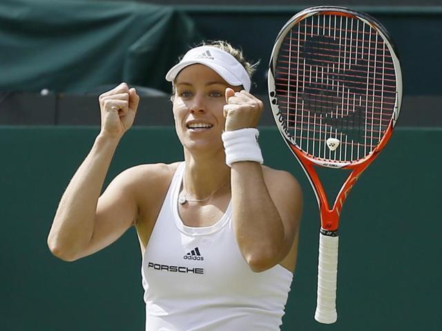 Germany's Angelique Kerber celebrates winning her match against USA's Venus Williams.