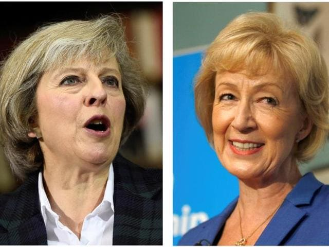 The two remaining candidates in the Conservative Party leadership contest, Theresa May (L) and Andrea Leadsom.