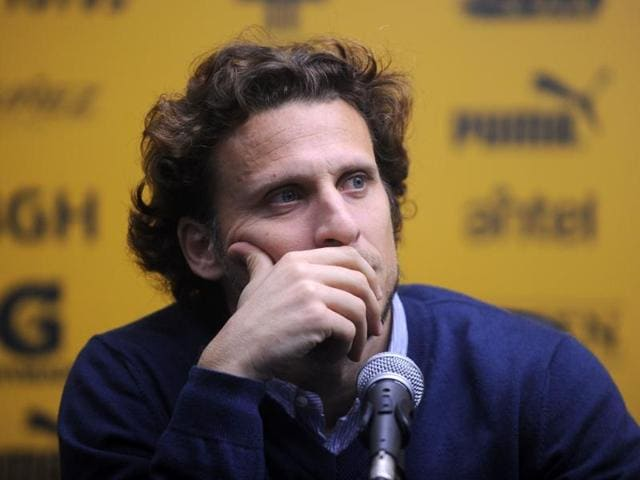 Uruguayan footballer Diego Forlan delivers a press conference in Montevideo.(AFP File Photo)
