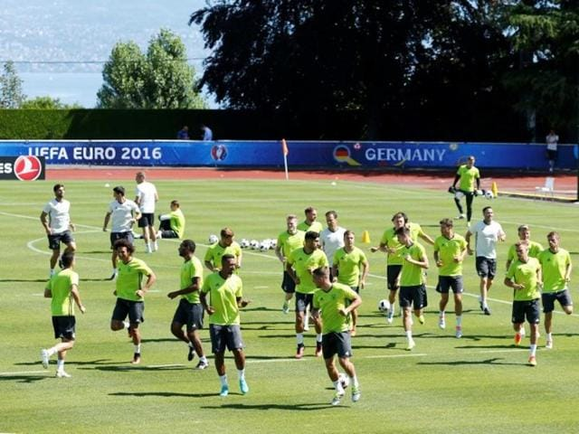 Germany's players during training at Stade Camille Fournier, Evian-Les-Bains, France.
