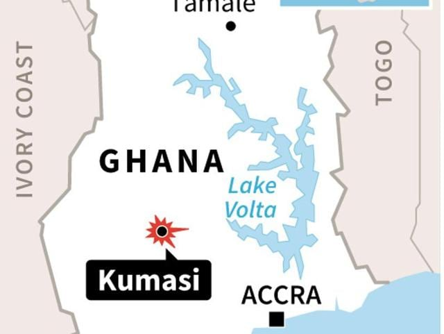 Nine people were killed in a stampede at a party in the city of Kumasi in central Ghana.