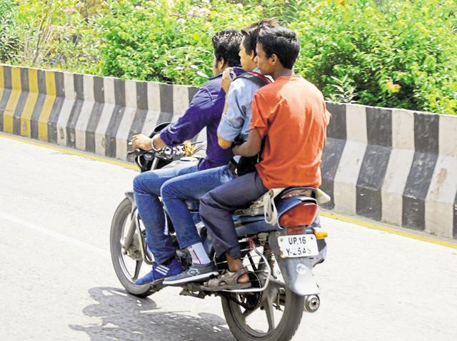 Bikers can be often seen driving without helmets in NCR towns of Noida and Ghaziabad.