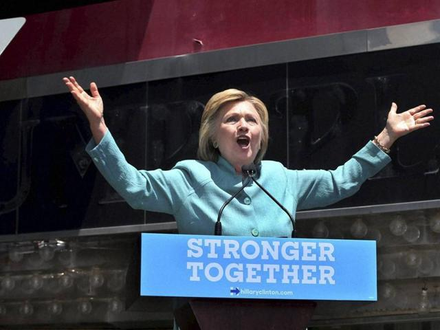 US Democratic presidential candidate Hillary Clinton delivers a campaign speech in Atlantic City, New Jersey, on Wednesday.