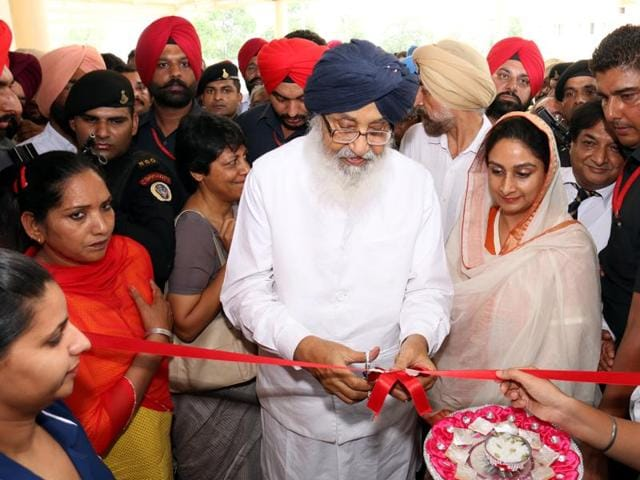 Punjab chief minister Parkash Singh Badal and Union food processing minister Harsimrat Kaur Badal inaugurating the Advanced Cancer Institute in Bathinda on Thursday.