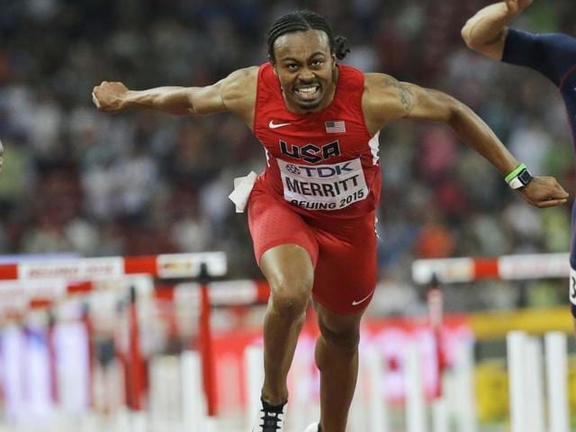 Aries Merritt (centre) competes in the men's 110m hurdles final at the World Athletics Championships at the Bird's Nest stadium in Beijing.