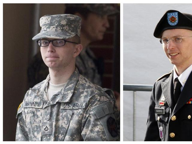 A combination photo shows U.S. soldier Chelsea Manning, who was born male Bradley Manning but identifies as a woman, imprisoned for handing over classified files to pro-transparency site WikiLeaks.