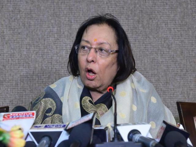 File photo of Union minister of minority affairs Najma Heptulla.  In an unexpected development, she and another Union minister Kalraj Mishra were retained in the second Modi cabinet reshuffle.