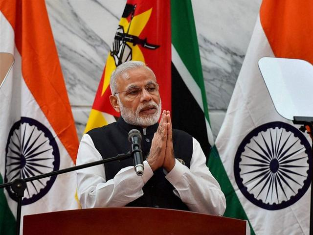 Prime Minister Narendra Modi speaks at a joint press conference with Mozambique President Filipe Jacinto Nyusi (unseen) after signing of agreements at Presidential Office in Maputo, Mozambique on Thursday.