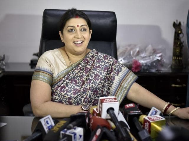 Smriti Irani takes charge at the textile ministry at Udyog Bhawan in New Delhi on Wednesday