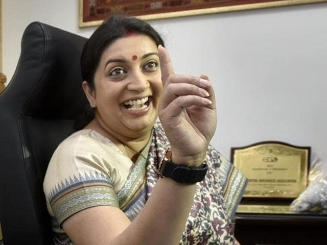 BJP leader Smriti Irani takes charge as textile minister at Udyog Bhawan in New Delhi on Wednesday.