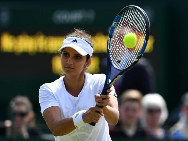 India's Sania Mirza  reacts during Wimbledon 2016.