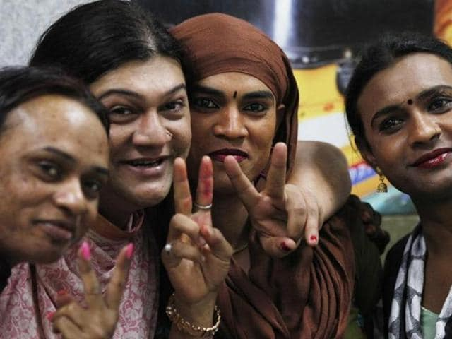 Members of the transgender community celebrate the Supreme Court verdict on their recognition under the third gender category.