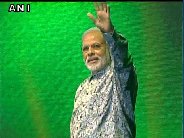 Prime Minister Modi addresses Indian community in Johannesburg.