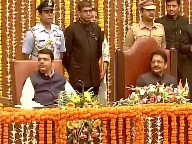 Maharashtra chief minister Devendra Fadnavis at the swearing in ceremony of his new ministers in Mumbai on Friday.