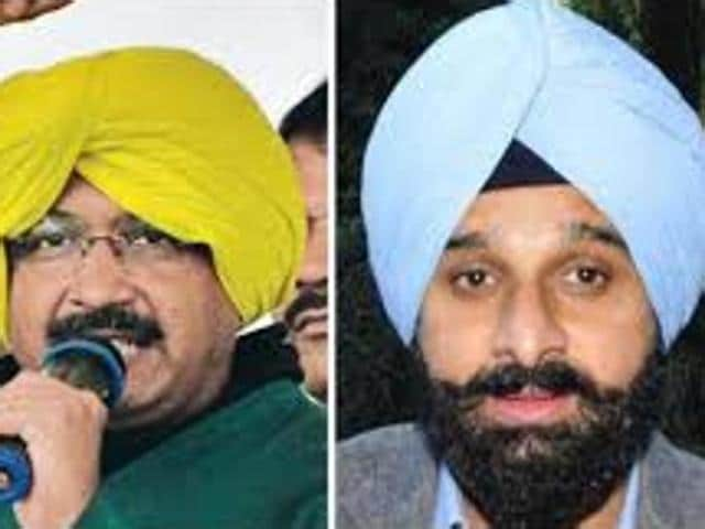 Delhi chief minister and Aam Aadmi Party convener Arvind Kejriwal (left) and Punjab revenue minister Bikram Singh Majithia (right)