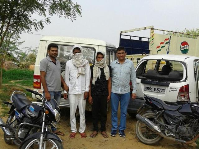 The accused have been identified as Jawed and Iqlash, residents of Salaheri in Mewat district. Police arrested them on Wednesday night from Indri Mod in Sohna on a tip-off.