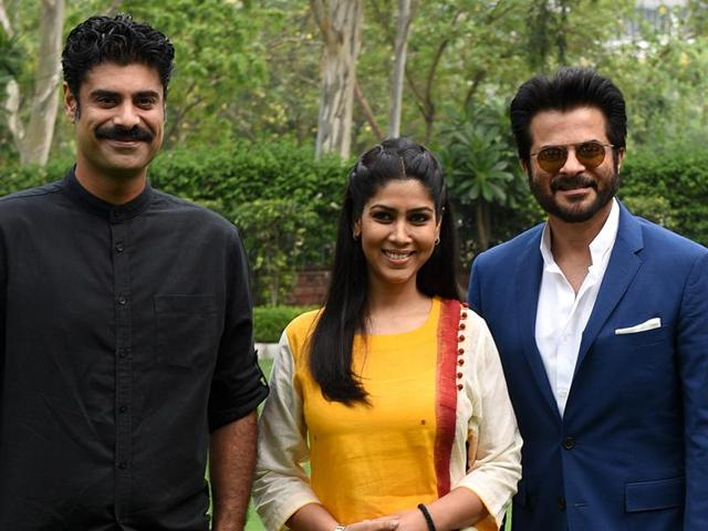 (Left to right)Sikander Kher, Sakshi Tanwar and Anil Kapoor in Chandigarh on Thursday.