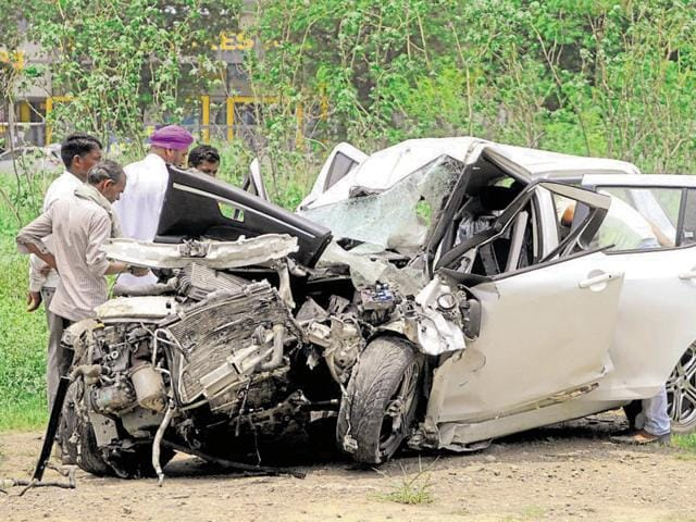 A speeding Swift car collided with a truck loaded with gravel around 4am on Thursday near Radha Soami Satsang centre on the airport road in SAS Nagar.