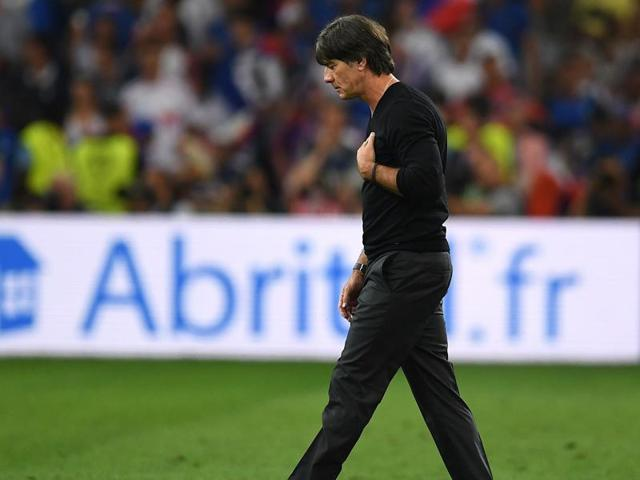 Germany's coach Joachim Loew reacts during the Euro 2016 semifinal football match between Germany and France at the Stade Velodrome in Marseille.