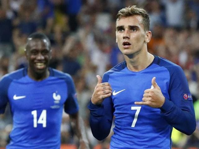 France's Antoine Griezmann celebrates scoring their second goal.