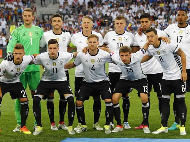 Germany's national football team pose for a photo ahead of their Euro 2016 semifinal match against France, in Marseille.
