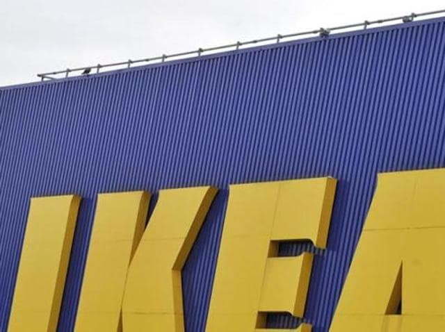 The IKEA sign is seen outside the Wembley branch of the Swedish international furniture and home accessories company in west London.