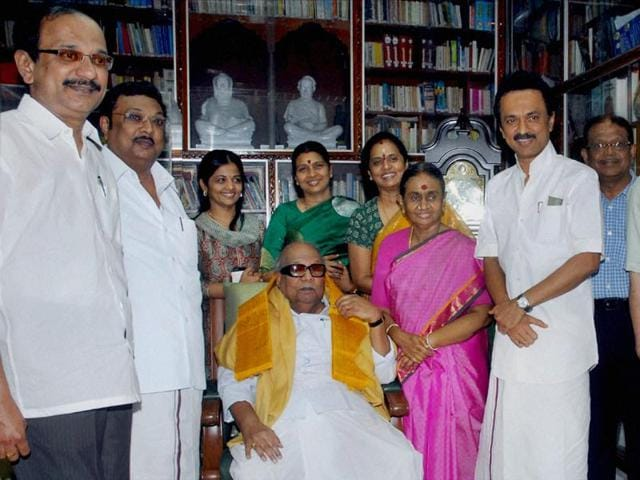 Former Chief Minister of Tamil Nadu M Karunanidhi with his family.