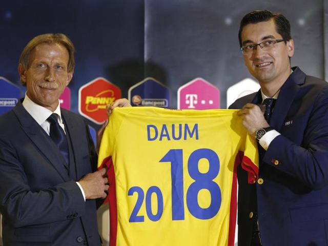 Christoph Daum, Romania's new German football team coach, attends a press conference in Bucharest.