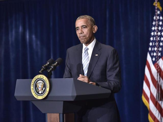 President Barack Obama speaks on the recent shootings in the US at a hotel in Warsaw.