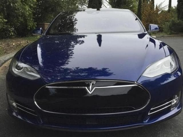 A Tesla Model S electric vehicle is shown in San Francisco, California.