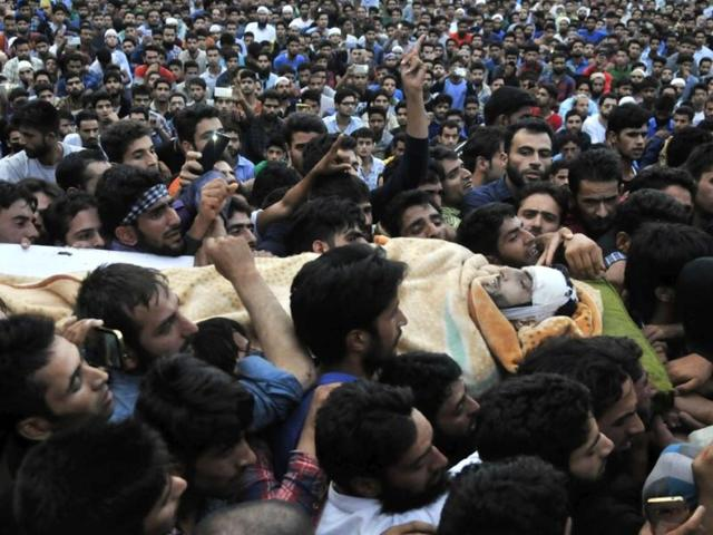People gathered in droves to attend the funeral of Burhan Wani, the young militant commander of the Hizbul Mujahideen  killed by security forces. Wani was largely considered a local hero for his fight for an independent Kashmir.