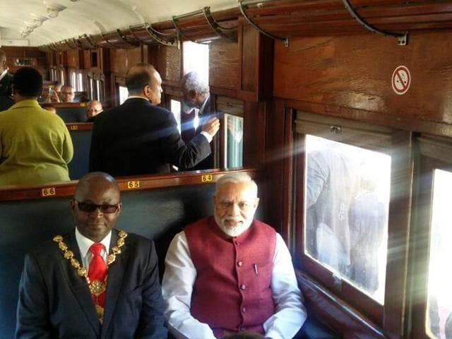 Modi's ride was commemorating the incident in which a young Gandhi in 1893 was ejected from a South African train when he refused an order to move from a first-class carriage because of his race