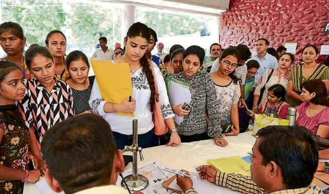 Students during the first counselling at Postgraduate Government College, Sector 11, in Chandigarh on Thursday.