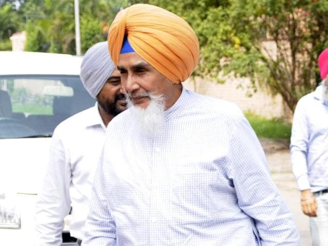 AAP leader Sucha Singh Chhotepur on his way to a meeting in Chandigarh on Friday.
