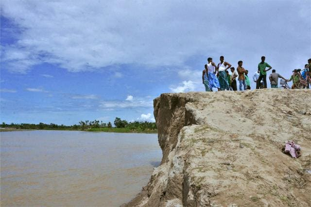 The breached embankment of the Brahmaputra river in Nagaon in Assam on Saturday.