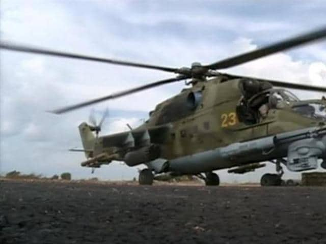 Two Russian pilots died near the Syrian city of Palmyra when their helicopter was shot down by Islamic State fighters.