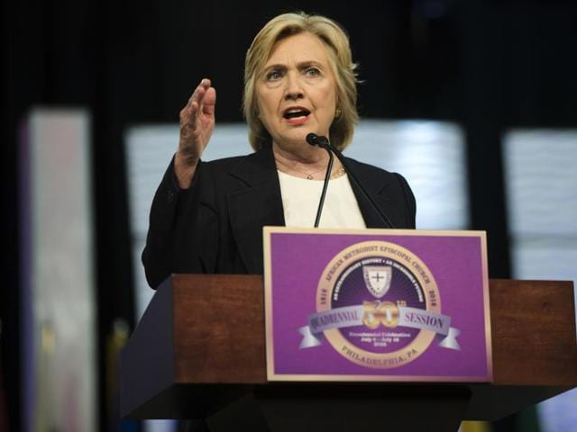 Democratic presidential candidate Hillary Clinton  in Philadelphia, Friday, July 8, 2016.  The presumptive Democratic nominee has denied FBI's charge that she was 'careless' with classified information as secretary of state.