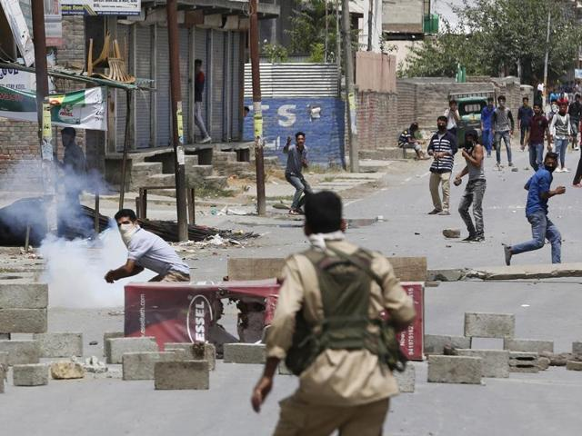 Protesters clash with police in the aftermath of the death of Burhan Wani, the top commander of militant organisation Hizbul Mujahideen, in Srinagar.