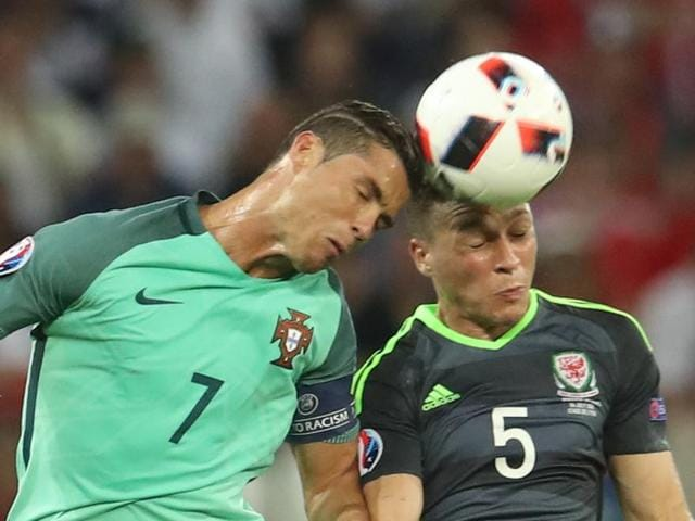 Ronaldo's powerful header gave Portugal the lead against Wales in the semifinal.