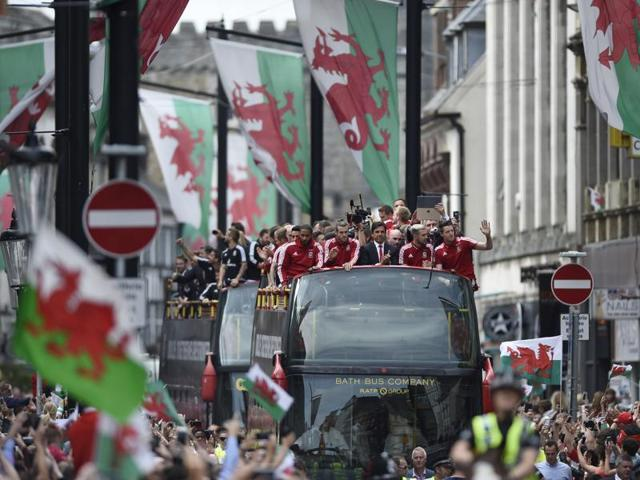 The Wales team during the bus parade at Cardiff, Wales.