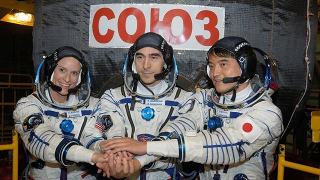 NASA astronaut Kate Rubins, cosmonaut Anatoly Ivanishin of Roscosmos, and astronaut Takuya Onishi of the Japan Aerospace Exploration Agency (JAXA) joined their Expedition 48 crew members aboard the space station when the hatches opened between their Soyuz MS-01 spacecraft and the ISS