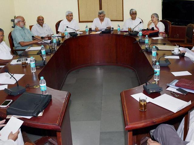File photo of CPI(M) general secretary Sitaram Yechury presiding over a Politburo meeting at the party office in New Delhi.