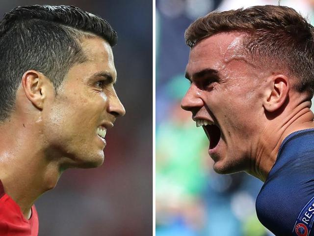 A combination of two file pictures shows Portugal's forward Cristiano Ronaldo and France's forward Antoine Griezmann. France will face Portugal in the Euro 2016 final football match at the Stade de France in Saint-Denis.
