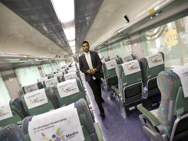 File photo of Gatiman, India's first semi-high speed train. Another train, Tejas which will be rolled out in 2016, will  have many world class features such as high-tech entertainment units, wi-fi facility and snack tables.